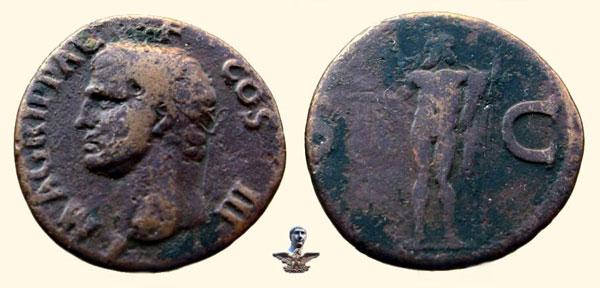 Монета асс Калигулы Памяти Агриппы