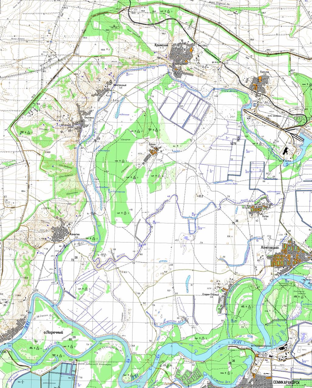 Карта местности г.Ростов-на-Дону, Усть-Донецкий р-он, около п.Крымский.
