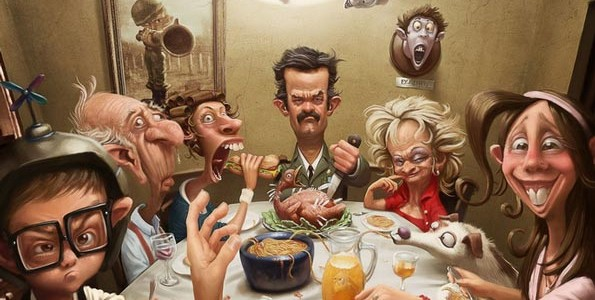 Семья за столом финансовых решений