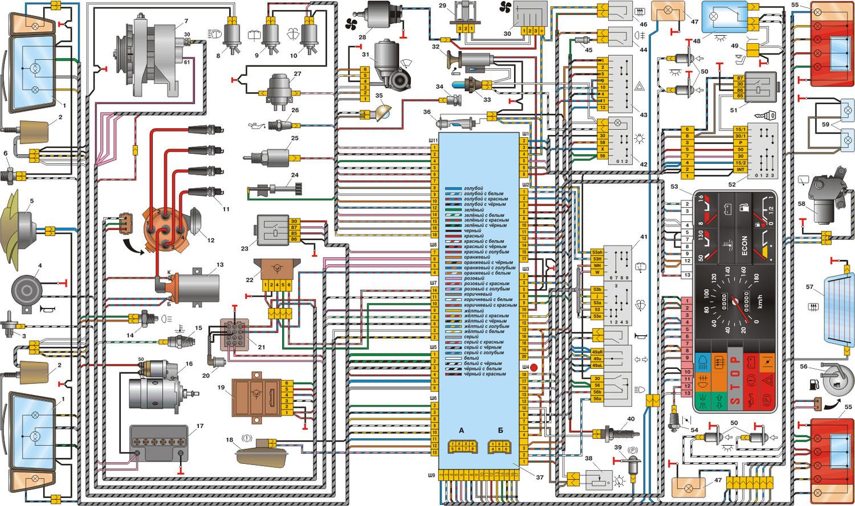 Схма электрооборудования автомобиля - ВАЗ 2109