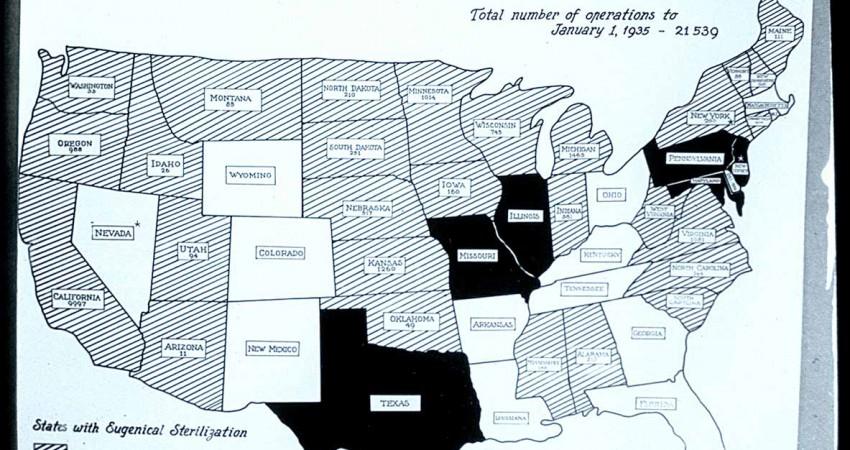 Законодательный статус евгенической стерилизации в Соединенных Штатах и общее количество операций каждого штата до 1 января 1935 года
