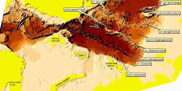 Рельеф дна 3Д Северного Ледовитого океана по данным ОМС ВНИИ Океангеология