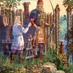 В святилище. покраска статуи полкана