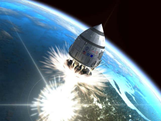 Корабль летит с помощью ядерных мини взрывов