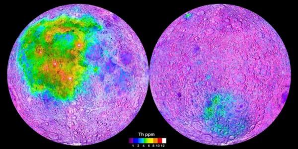 Концентрация тория на Луне