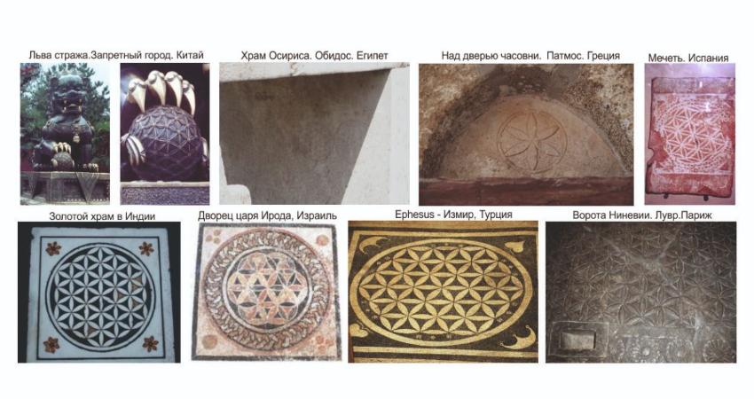 В разных древних культурах можно увидеть изображения Цветка жизни