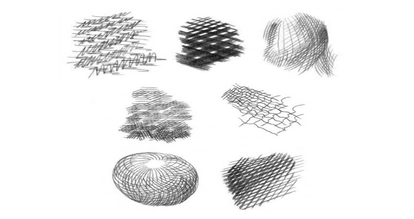 Варианты перекрестной штриховки с помощью которой можно создавать различные текстуры